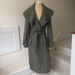 Anthropologie Long Wool Wide Collar Belted Coat